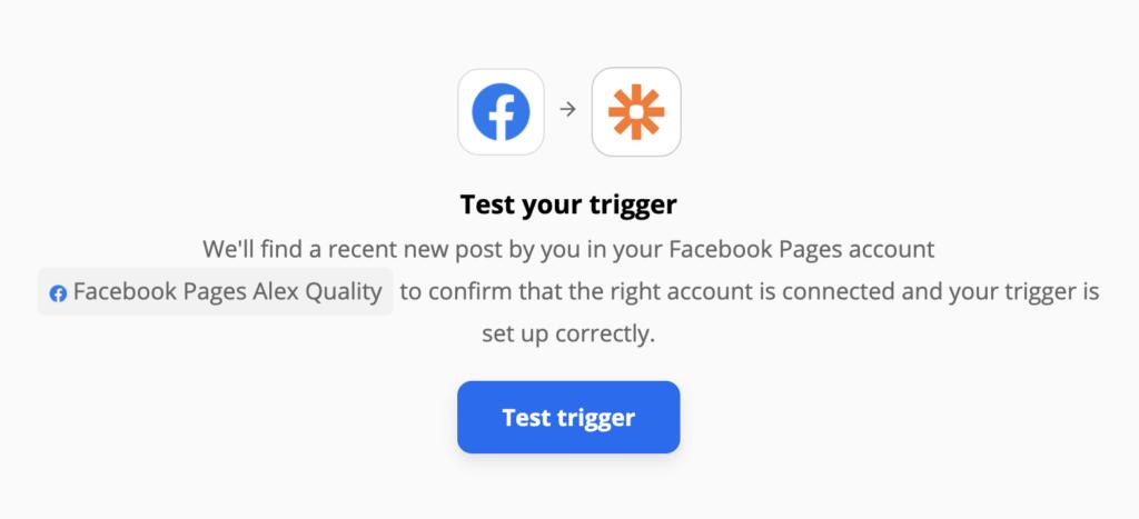 Facebook-oldal eseményindító teszt a Zapieren