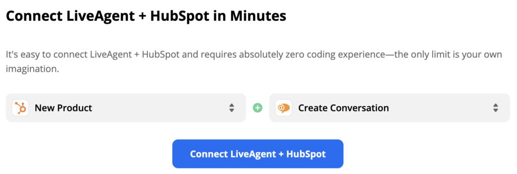 Een trigger voor een nieuw product in HubSpot activeert een actie Gesprek maken in LiveAgent