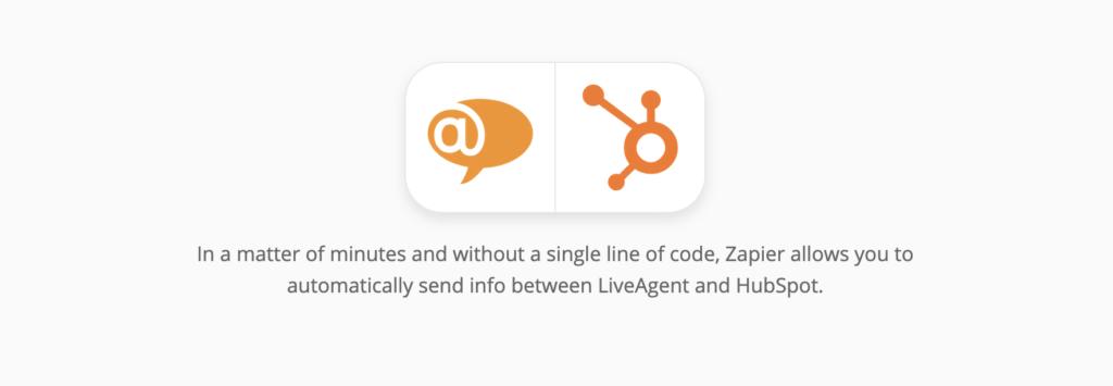 HubSpot en LiveAgent-integratiepagina op Zapier
