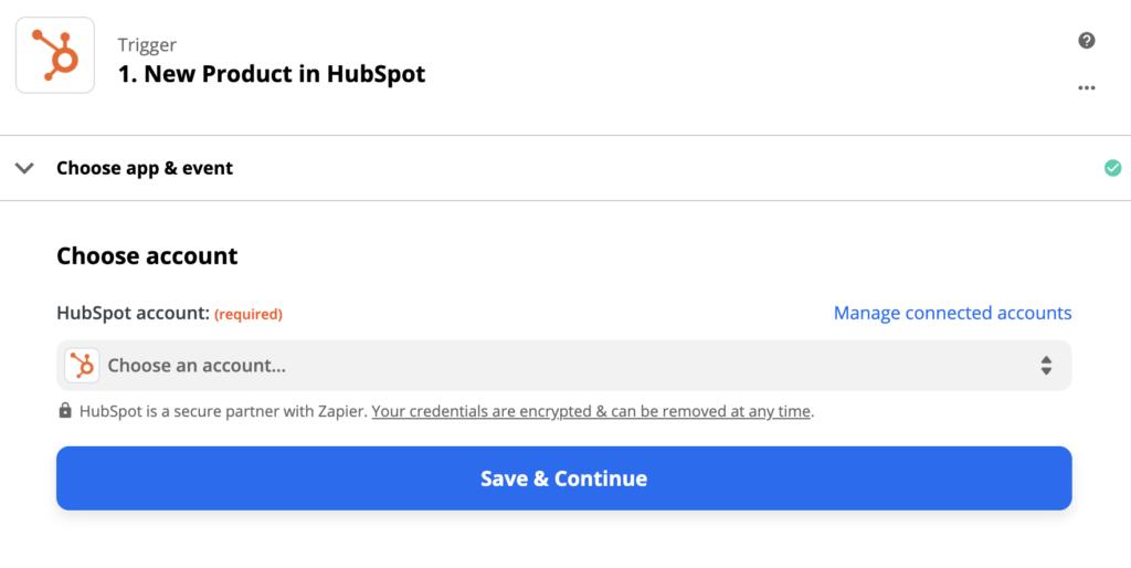 Параметры настройки триггера HubSpot в Zapier