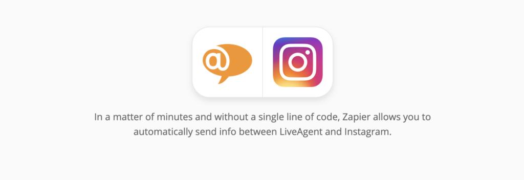 LiveAgent és Instagram integrációs oldal a Zapieren