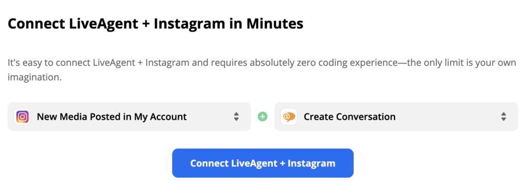 Kiválasztott Instagram eseményindító és LiveAgent művelet