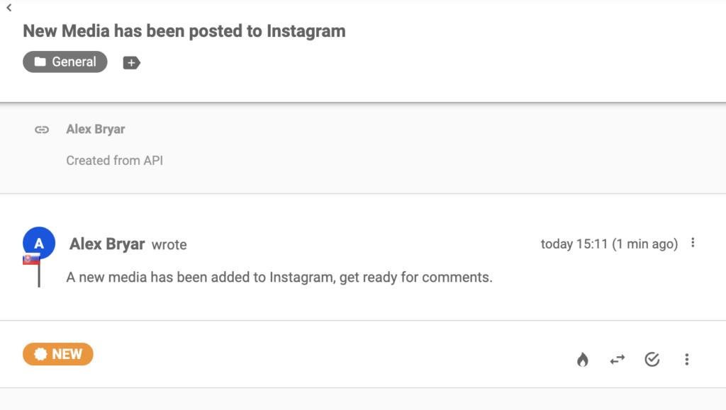 Instagram üzenet új bejegyzésről a LiveAgent jegyrendszerében