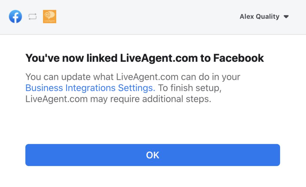 Sikeresen összekapcsolta a Facebook oldalt a LiveAgenttel