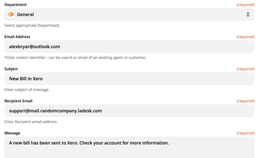 LiveAgent-actieconfiguratie-opties op de Zapier-website