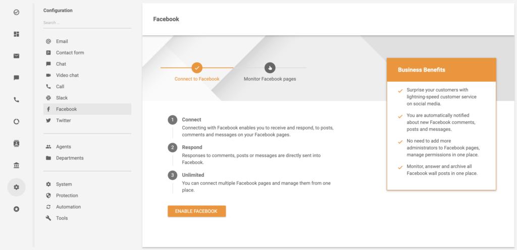 Facebook-fiók integrációja a LiveAgentben