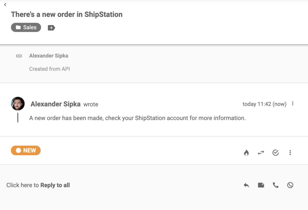 Сообщение из ShipStation, отправленное после оформление там нового заказа