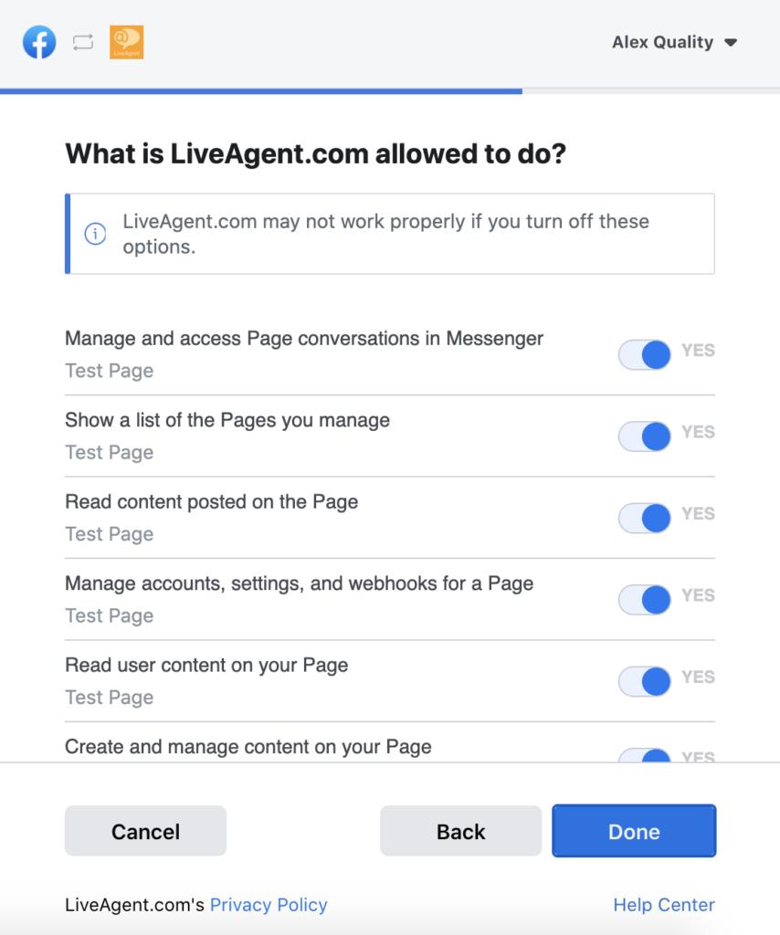 A Facebook engedélyeinek kiválasztása