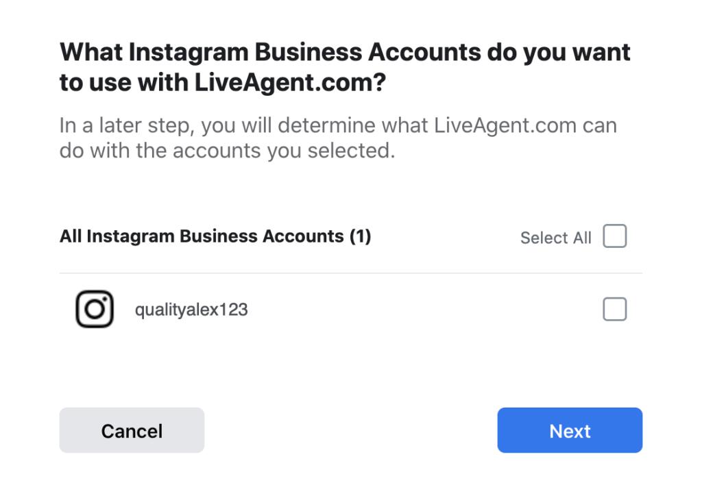 Válassza ki az integrációba beilleszteni kívánt Instagram fiókokat