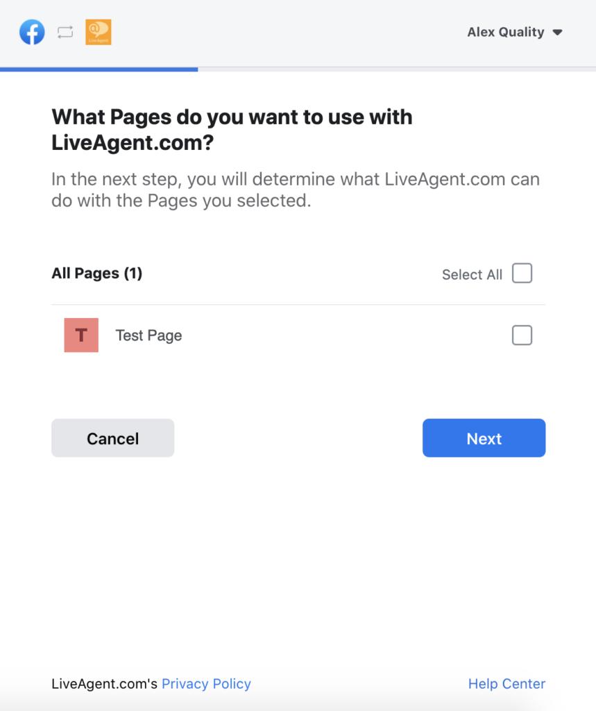 Facebook oldalak kiválasztása LiveAgent konfigurációban