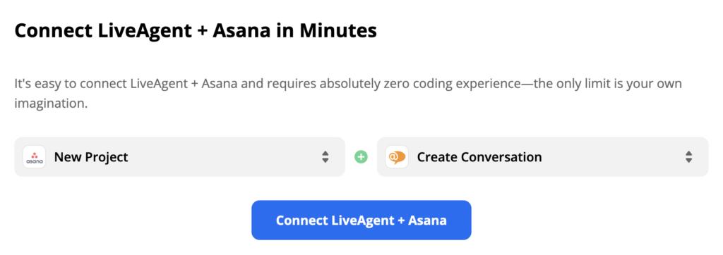 Выбранные триггер Asana и действие LiveAgent