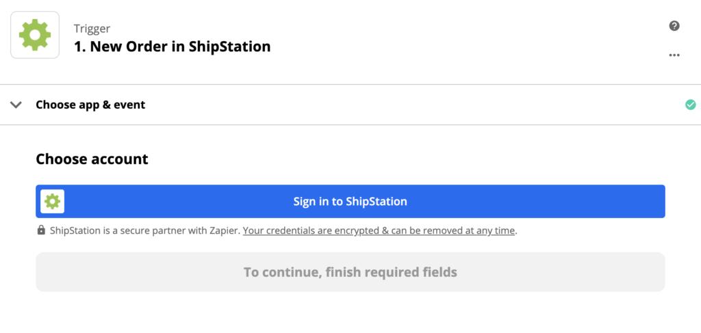 Een afbeelding met de configuratie van de ShipStation-trigger