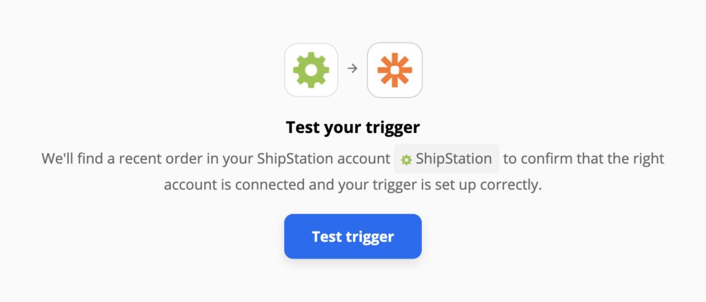 Тест триггера ShipStation после настройки