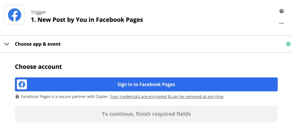 Facebook eseményindító konfigurációs példa