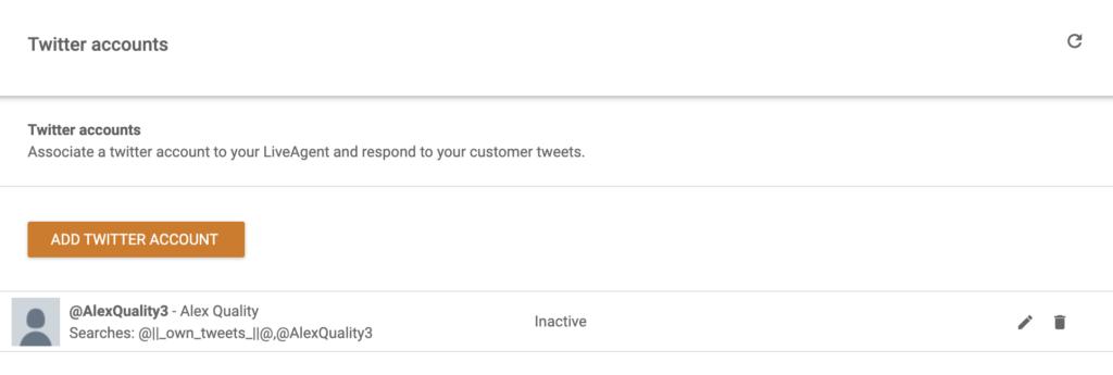 Аккаунт Twitter добавлен в систему LiveAgent