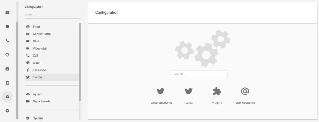 Twitter в разделе конфигурации LiveAgent