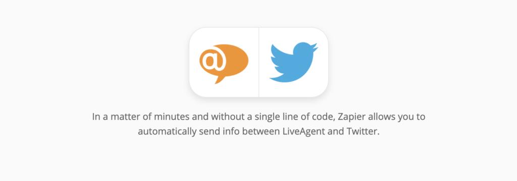 Страница интеграции LiveAgent и Twitter на сайте Zapier