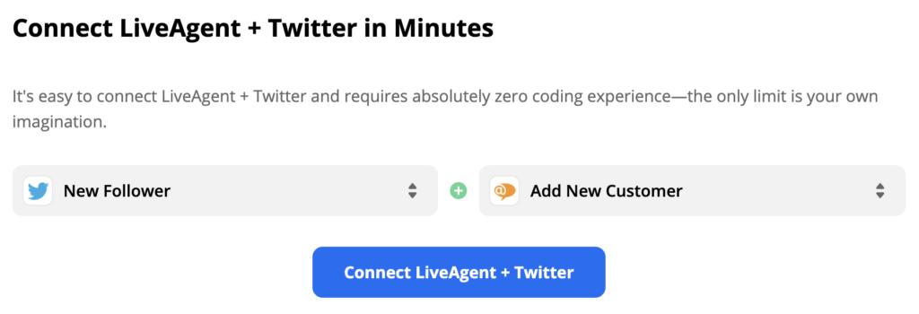 Выбранные на сайте Zapier триггер Twitter и действие LiveAgent