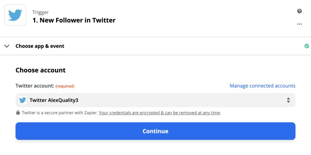 Настройка триггера Twitter в рамках процесса интеграции