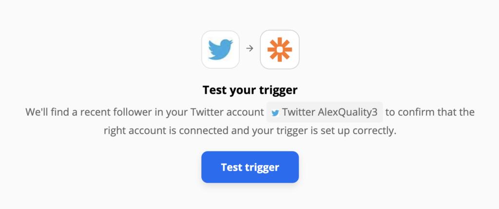 Проверка триггера Twitter в рамках процесса интеграции на сайте Zapier