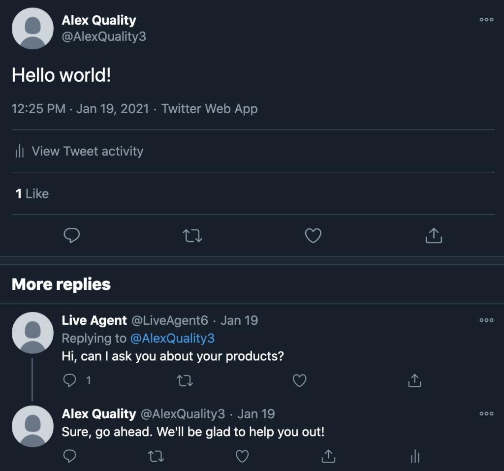 Пример твита в Twitter