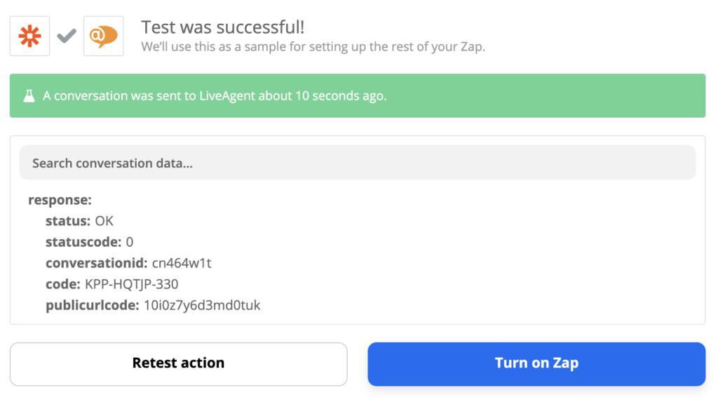 Een succesvolle test van een Xero- en LiveAgent-integratie op Zapier
