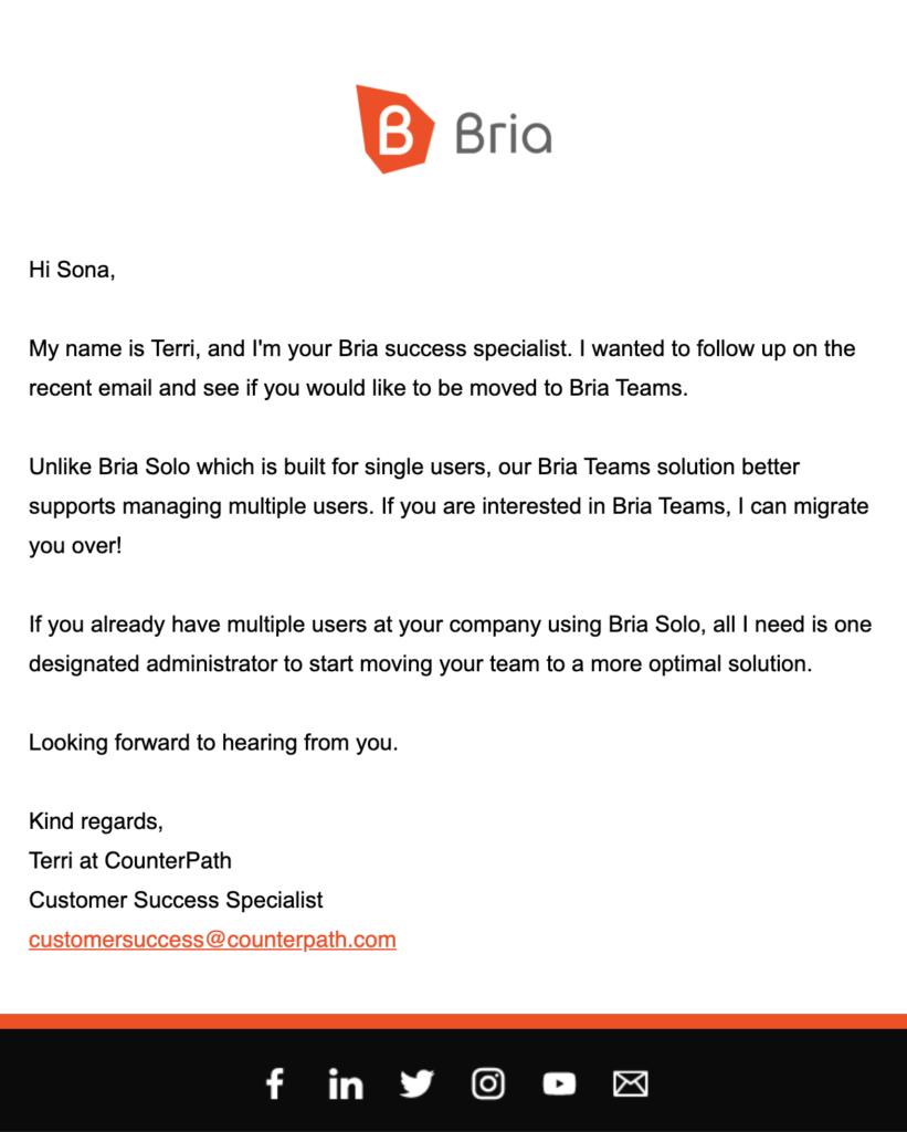 来自Bria的客户服务后续邮件