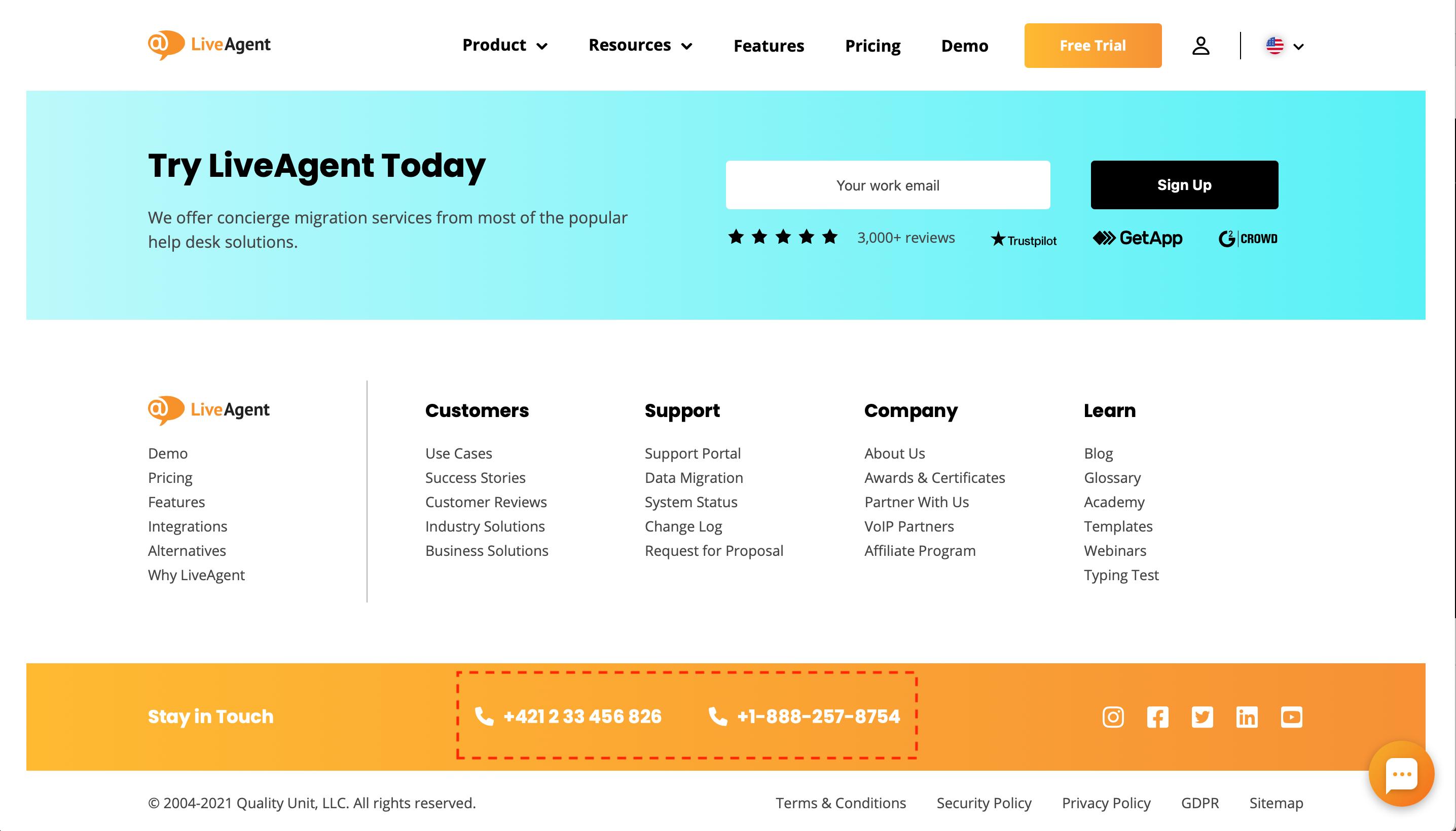 Tel-link-LiveAgent-example