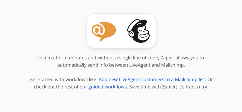 Страница интеграции LiveAgent и Mailchimp на сайте Zapier