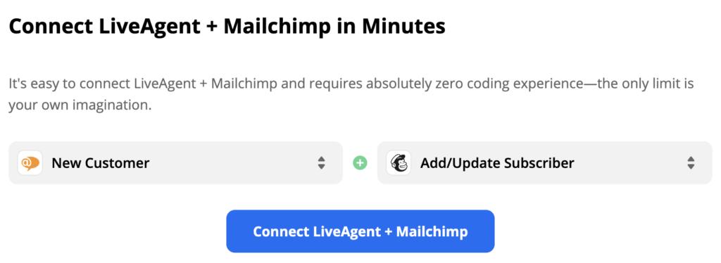 Выбранные триггер LiveAgent и действие Mailchimp