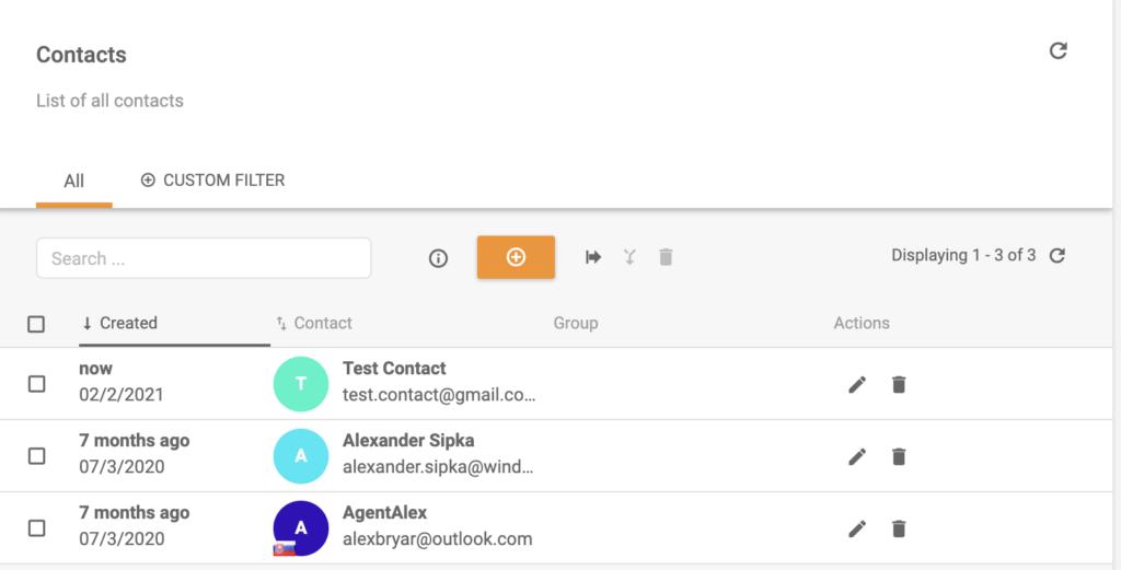 Новый контакт добавлен в список контактов LiveAgent
