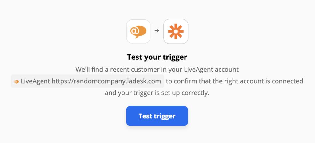 Тест триггера LiveAgent