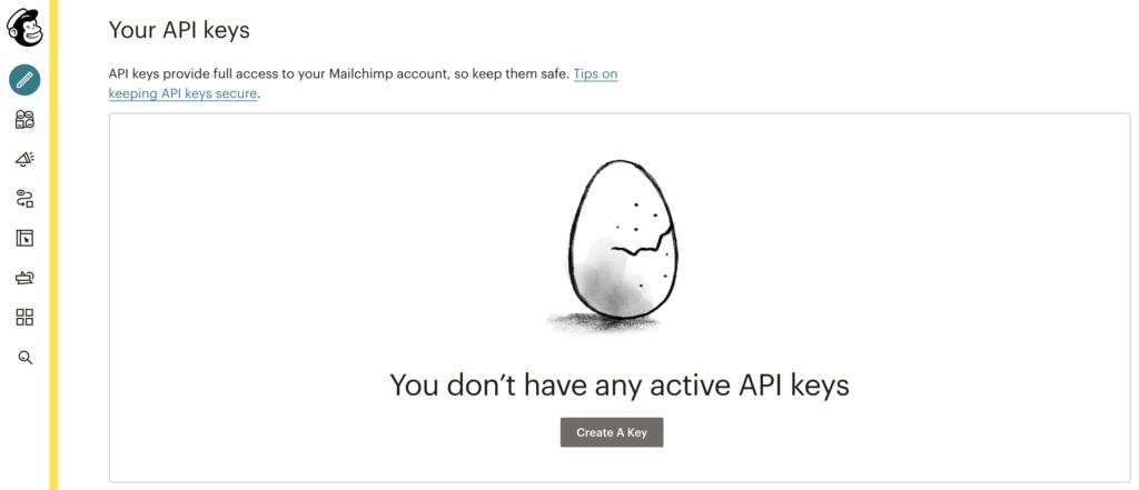 Создайте ключ API в сервисе Mailchimp для интеграции с LiveAgent