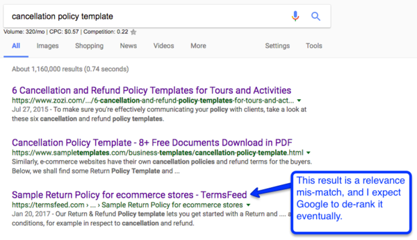 But You Can Already See, Even The Article Ranking In Position Three Has A  Relevance Mismatch. Google Is Ranking A Return Policy For An ECommerce  Store   Yet ...