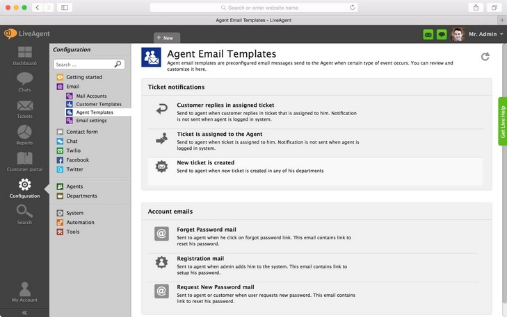 Agent email templates