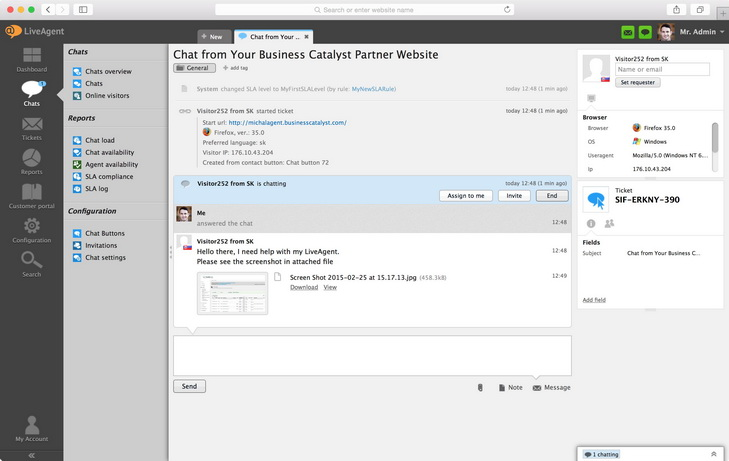 Attachment in live chat view