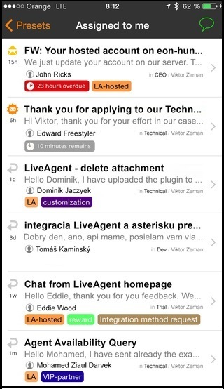 Tickets in iOS LiveAgent app
