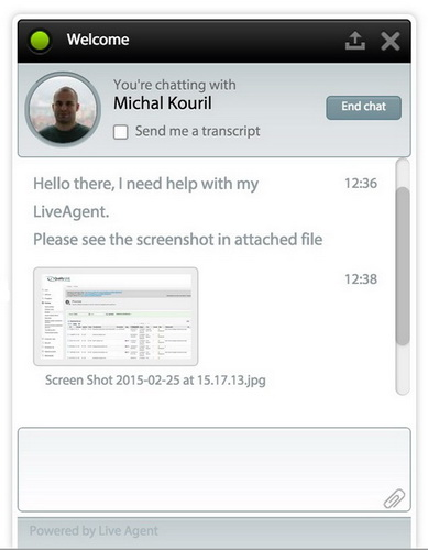 Attachment in live chat
